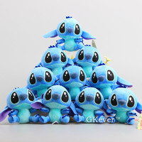 "10 Pcs/Lot Cute Lilo and Stitch Plush Keychain Mini Dolls with Rings 4"" 10 CM"