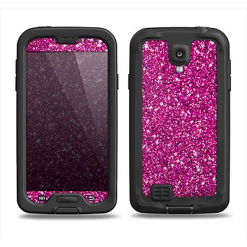 The Bright Pink Glitter Samsung Galaxy S4 LifeProof Fre Case Skin Set