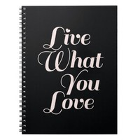 Live Love Inspirational Quote Gifts Black Note Book