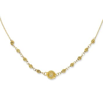 14k Yellow Gold Cable with Filigree Beads w/ 2in Ext Necklace