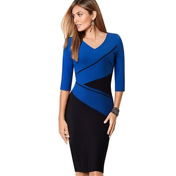 Womens Elegant Optical Illusion Patchwork Contrast Slim Casual Work Office Party Bodycon Plus Size Business Dress EB384