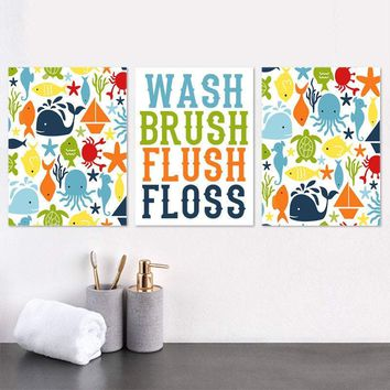 OCEAN Bathroom Wall Art, Ocean Animals Bathroom Decor, Child Bathroom Art Canvas or Print Girl Boy Wash Brush Flush Bathroom Rules Set of 3
