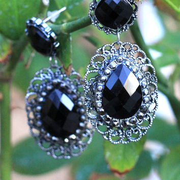 Feeling Lucky Black & Silver Earrings