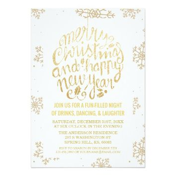 Elegant White Gold Cheers New Year Christmas Party Card
