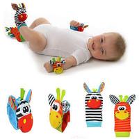 4pcs Set Infant Baby Kids Animal Hand Wrist Foot Sock Bell Rattles Soft Toy