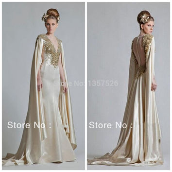 Custom Made 2017 New Fashion A-line V-neck Crystal Beads Luxury Arabic Dubai ABAYA Kaftan Evening Dresses Free Shipping GD012