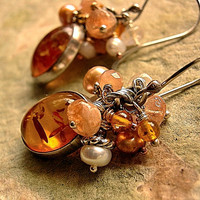 Amber, Pearl & Moonstone Earrings .Gem Clusters .Golden, Peach, Creamy White, Sterling Silver