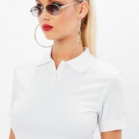 Missguided - White Polo Crop Top