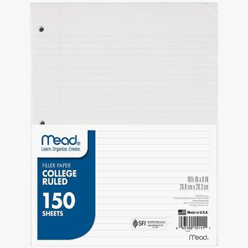 (12 Pk) Notebook Paper College Ruled 150sht