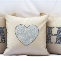 Three decorative linen pillow- Customized silver sequin monogram pillow -Heart throw pillows -Gray linen pillow- 16X16- Initial heart pillow