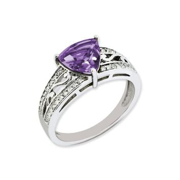 Trillion Amethyst and .18 Ctw Diamond Sterling Silver Ring