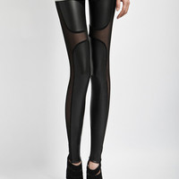 Black Faux Leggings with Mesh Cut-Out