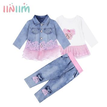 Trendy 3PCS Baby Girls Denim Outfit Long Sleeves Embroidered Mesh Hem Jacket T-shirt with Jeans Casual Spring Fashion Party Outwear Set AT_94_13