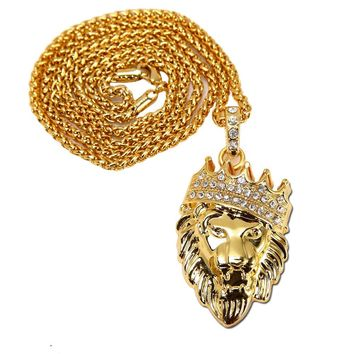 Iced Out Lion Head Pendant Necklace New Style Lion King Animal Charm Jewelry Swag Rap gifts
