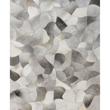 Bashian Rugs Modern Patch Cowhide Hand-Stitched Rug - Grey