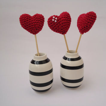 Amigurumi heart, cake topper, table decoration, valentine's ornmament, garland accessories, birthday favors, baby shower decorations