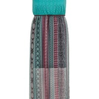Plus Size - Crochet Top Belted Chiffon Maxi Dress - Multi