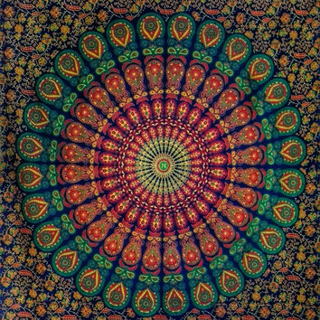 Mandala tapestry, astrology indian fabric, boho bohemian hippie ethnic style, twin size, wall hanging, bedsheet, duvet cover, bedspread