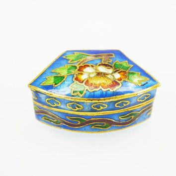 Cloisonne Floral Hinged Trinket Box, Fan Shape with Blue, Brown Green Enamel and Gold Tone Vintage 1970s 1980s Floral Italian Pill Box