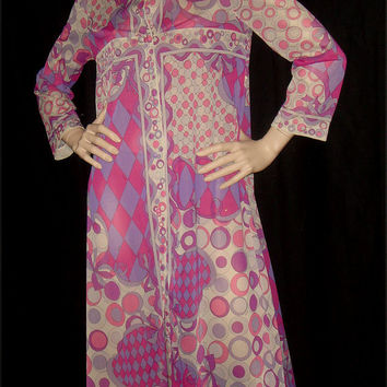 Vintage 1960s Emilio Pucci EPFR Maxi Dress Gown purple and pink op art and harlequin check print m