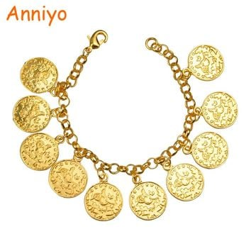 Anniyo Length 22CM/Turkey Coin Bracelet for Women Gold Color Turks Simgesi Osmanli Turasi Bangle Arab Jewelry African #080606
