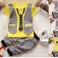 Gentleman Suit Toddler Boys Clothing Set short Sleeve T-shirt + Pants