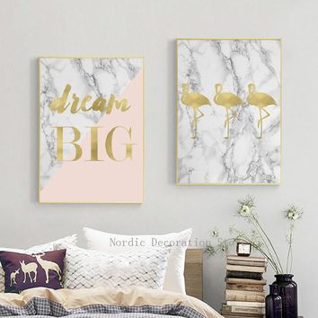 Nordic Poster Gold Yellow Pineapple Flamingo Canvas Art Posters And Prints Wall Art Canvas Painting Wall Pictures Art Unframed