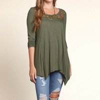 Lace Panel Tunic T-Shirt