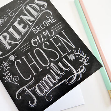 Friendship Card - Best Friend Card - Chalkboard Art - Hand Lettering - Chalk Art - Chalkboard Note Card
