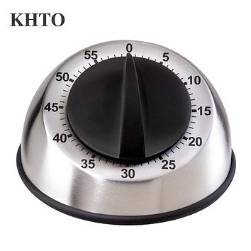 KHTO Stainless Steel Dome Shape Kitchen Timer 60-Minutes Countdown Mechanical Wind Up Alarm Clock Home Kitchen Cooking Tools
