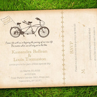 Vintage Shabby Chic Brown Tandem Bicycle Customizable Wedding Invitation and RSVP Card Suite - Double Sided Print