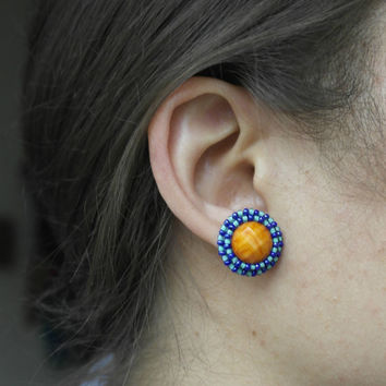 Earrings Orange Small Blue Color Resin Cabochon Flatback Faceted Cracked Seed beads beaded handcrafted Stud