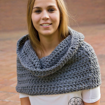 Extra large chunky crochet infinity scarf, hooded cowl, shawl