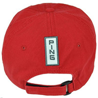 PING Golf Equipment Women Relaxed Slouch Red Brand Ladies Hat Cap Velcro Golfing