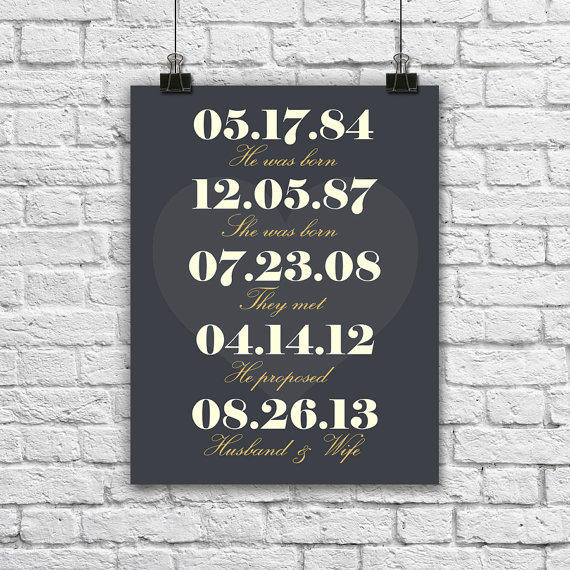 1 Month Wedding Anniversary Gifts : Personalized Couples Dates. Wedding Gift from Sams Simple Decor
