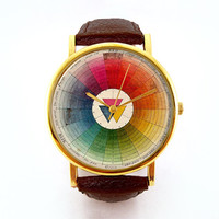 Vintage Color Theory Watch, Vintage Color Wheel, Ladies Watch, Men's Watch, Collage, Unisex, Vintage Inspired, Collage, Analog, Gift Idea