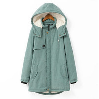 Blue Winter Trench Coats Long Outerwear Hoodies with Plus size