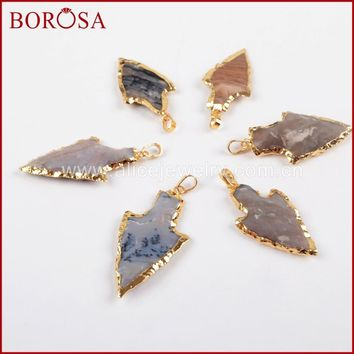 BOROSA 10pcs Fashion Arrowhead Gold Color Rough Natural Stone Gems Charms Connector Double Bails for Necklace DIY Jewelry G1392
