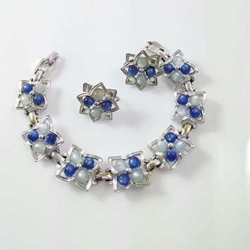 Silver and Blue Moon Glow Set- Bracelet and Clip Earrings Vintage