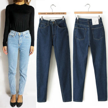 Vintage High Waist Jeans Women Denim Pants  New Slim Boyfriend Pants Capris Trousers Fits Lady Jeans  Women  Jeans Plus Size