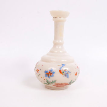 Vintage Bristol Glass Vase Hand Painted Flowers Botanical Crane Moriage Bud Vase Perfume Bottle