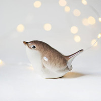 Vintage porcelain figurine Wren bird, brown sandy white shades Soviet figurine bird, home decor small wren gift Christmas