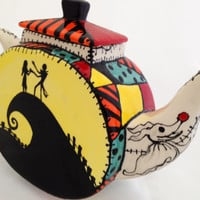Nightmare Before Christmas Inspired Tea Pot: Hand Painted Sally Patchwork, Jack and Sally, HalloweenTown, Zero, and Oogie Booie