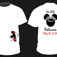 "Personalized ""Prince and Princess"" NAME/DATE Mickey AND Minnie Cute Couples Matching Shirts Small-2XL"