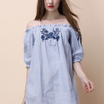Serene Days with Rose Off-shoulder Tunic