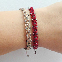 Stacked bracelets set of two beige and red beaded bracelets macrame adjustable closure