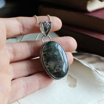 Moss Agate Silvertone Necklace