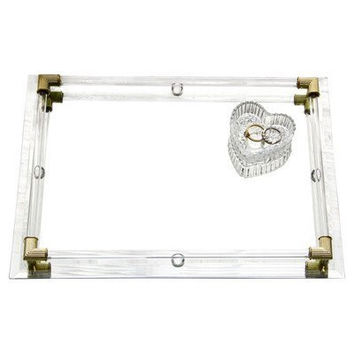 Accents by Jay Mirror Vanity Tray with Gold Corner Accents, 12 by 9-Inch