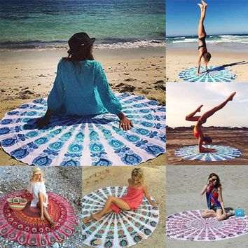 NEW! Fashion Indian Mandala Round Hippie Tapestry Wall Hanging Boho Printed Beach Throw Towel Yoga Mat Rug Blanket Home Decor