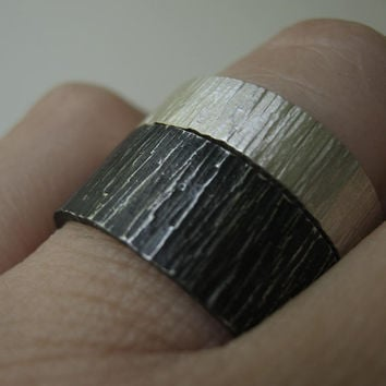 Day & Night Birch Bark Wedding Ring Set - Rustic Heavy Wide hammered Bands in Sterling Silver - Wider Set